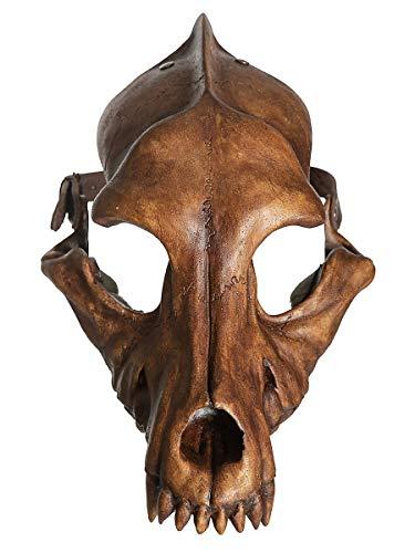 Andracor - Handgefertigte & handbemalte Kunstharz-Tiermaske - Wolfsschädel - Braun verwittert - individuell einsetzbar für LARP, Mittelalter, Fantasy & Cosplay