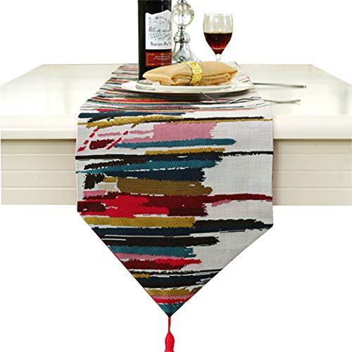 Runner da tavola stilosa, in iuta, con tecnologia jacquard, di colore grigio/blu/rosso, Red, 30cm * 160cm (12
