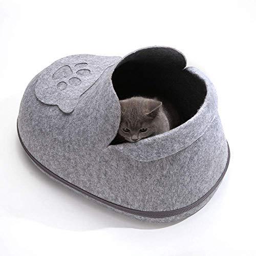 FEE-ZC Wasbare Draagbare Hond Kat Bed Grot, Gezellige Iglohuis Voor Grote Katten, Kittens, Kleine Honden | Knuffels Slaapplaats Voor Uw Huisdier, Grijs