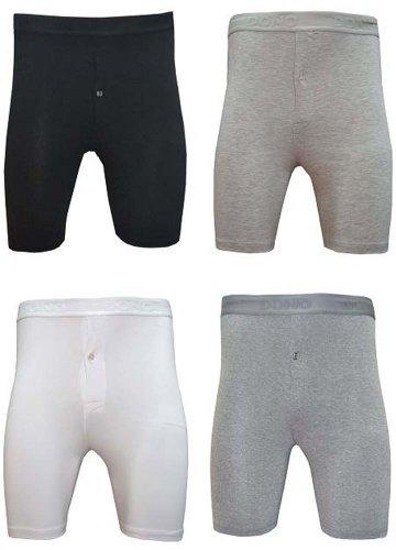 Elegance1234 Boxers homme en coton doux jambe longue braguette boutonnée (Ref:1150-Button Fly) - Blanc - moyen