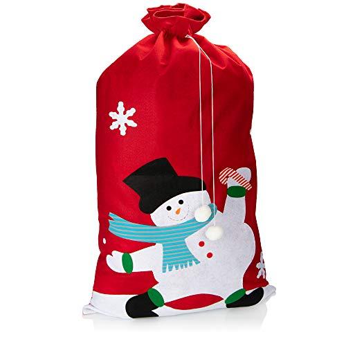 com-four® XXL Geschenksack für Weihnachten mit Schneemann Motiv - Nikolausbeutel zum Befüllen - Weihnachtssack für Weihnachtsmannkostüm