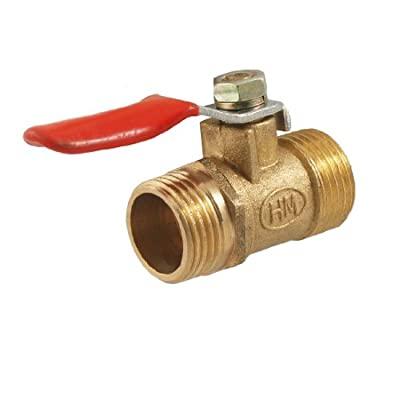 """3/8"""" Male to 3/8"""" Male Thread Flow Hole Ball Valve Gold Tone by Amico"""