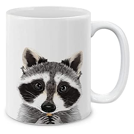 LookHUMAN Lookin for A Snack Raccoon White 15 Ounce Ceramic Coffee Mug