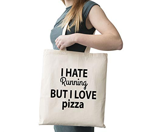 I Hate Running But I Love Pizza Cotton Canvas Tote Carry All Day Bag