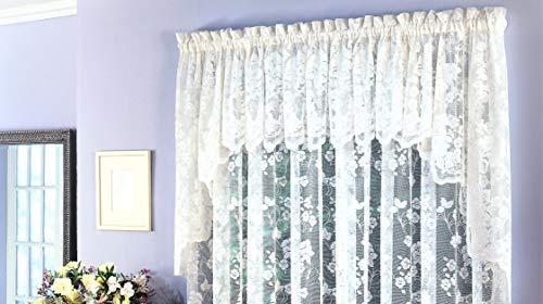 "Ben&Jonah Traditional Elegance Floral Vine Sheer Jacquard Lace Window Curtain European Swag (60"" W x 38"" L) - White"