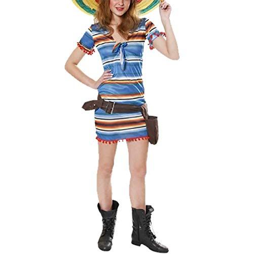 FashioN HuB Disfraz de fiesta de despedida de soltero para mujer, diseo de rayas mexicanas, color azul, talla nica