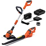 VERTAK 20V Cordless String Trimmer and Leaf Blower Sweeper Combo with 1 2.0Ah Lithium Battery Garden Tools Clearing Dust Small Trash,Car, Computer Host, Hard to Clean Corner