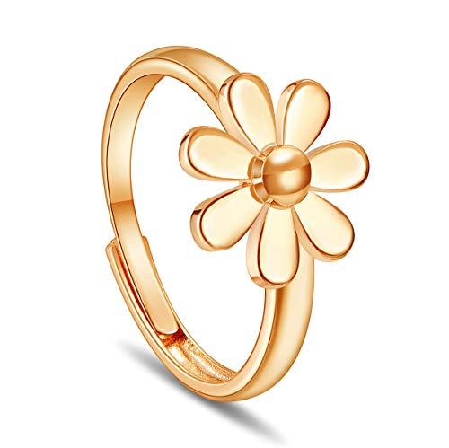 SHEGRACE Anello Daisy Donna in Rame Platinum, Oro Rosa Placcato Oro Anello 19mm, Regolabile