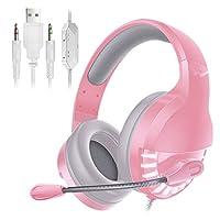 オーバーイヤーゲーミングヘッドホン 360°のノイズリダクションマイク付きゲーミングヘッドセットオーバーイヤー有線ゲーミングイヤホン (色 : Pink, Size : One size)