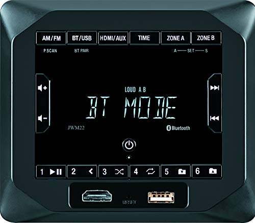 Jensen JWM22 2-Speaker Zones AM FM|BT|HDMI|AUX Cube Wall Mount Stereo, Speaker Output 4X 6 Watt, 30 Station Presets (18FM 12AM), Receives Bluetooth Audio (A2DP) and Controls (AVRCP) from Devices