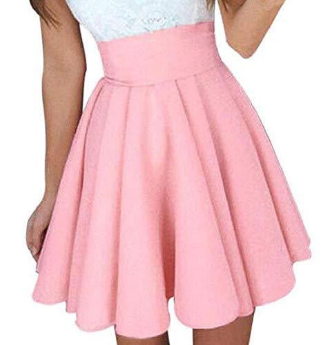 MISYAA Skrits Womens Summer Solid Skater Skirt High Waist Mini Skirts Cocktail Skirt Dresses Besties Gift(Pink,Large)