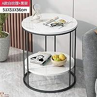 TIN-YAEN サイドテーブル ノルディックライトラグジュアリーコーヒーテーブルソファコーナーテーブルベッドサイドベッドルーム大理石パターンスモールラウンドテーブルサイドテーブル家具 (Color : 47x 61cm F1)