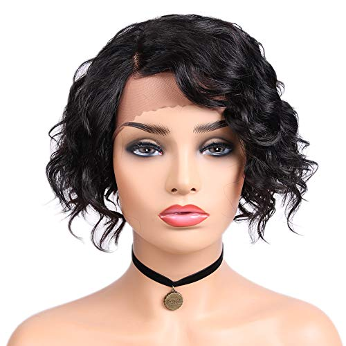 Quantum Love Lace Front Human Hair Wigs Natural Wave Side Part Wig Short Bob Brazilian Remy Human Hair Wigs for Women Natural Black Color