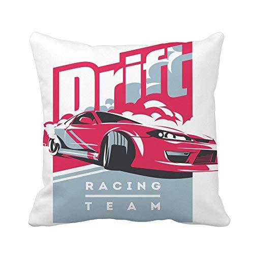 N\A Throw Pillow Cover Burnout Car Japanese Drift Sport JDM Racing Team Turbocharger Funda de Almohada Funda de Almohada Cuadrada Decorativa para el hogar Funda de cojín