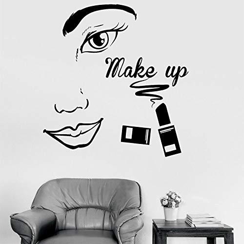wZUN Maquillaje salón de Belleza Moda Mujer Cara Pared Pegatina Vinilo habitación decoración Tienda Ventana calcomanía extraíble 42X44cm