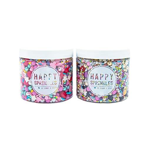 2er Streusel Set Party | Happy Sprinkles | Zuckerstreusel Mix bunt | Zum Backen und Verzieren von Torten Kuchen Plätzchen Muffin Eis | Schoko Perlen & Herzen | Zuckerdekor silber blau rosa