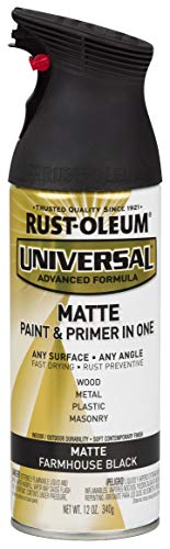 Rust-Oleum 330505 Universal Enamel Spray Paint, 12 oz, Matte Farmhouse Black