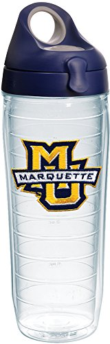 Tervis Marquette Golden Eagles Logo Insulated Tumbler with Emblem and Navy with Gray Lid, 24oz Water Bottle, Clear