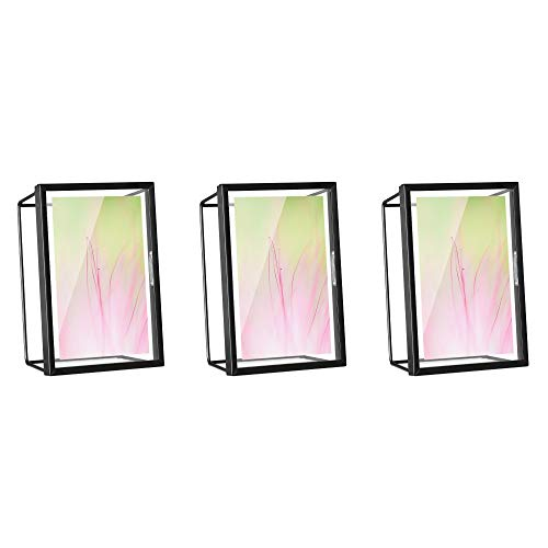 Navaris Bilderrahmen Fotorahmen Set 3-teilig - geometrische Rahmen für Bild und Foto - 17,8 x 6,2 x 12,8 cm für Schreibtisch oder Wand - in Schwarz