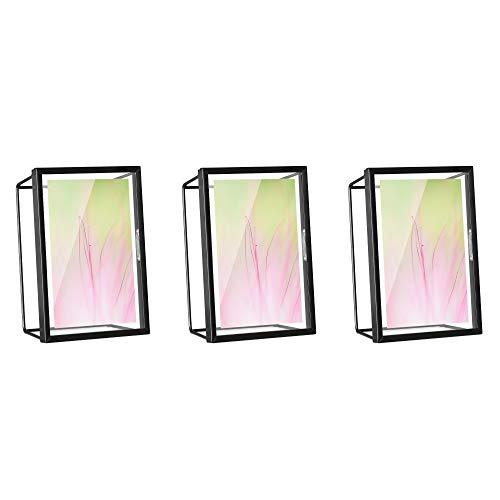 Navaris 3x Marco de fotos para mesa - Set de marcos de 12.7 x 6.2 x 17.8 CM de cristal y metal para fotos de 2 tamaños - Portafotos en negro