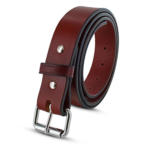 Hanks Gunner - USA Made Concealed Carry CCW Leather Gun Belt - 100 Year Warranty - 14 Ounce - Chestnut - 32