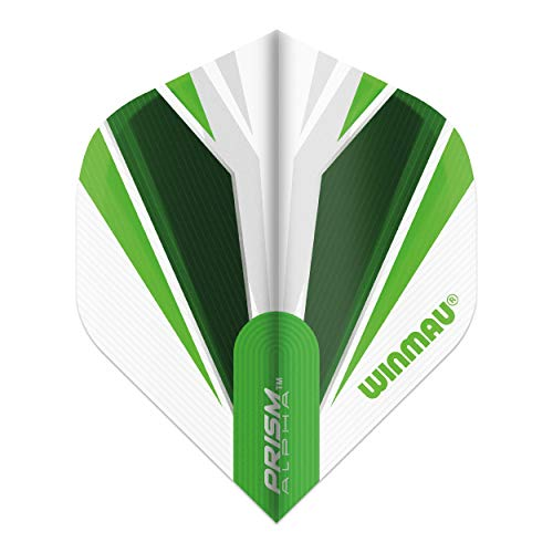 WINMAU Prism Alpha White & Green Extra Dicke Dart Flights - 1 Sätze pro Packung (3 Flights insgesamt)