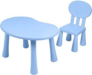 GSAGJzz Kids Table and Chairs Set Chairs and Activity Table for Children Educational Toddlers Furniture Set  Color Blue  Size table 1 chair