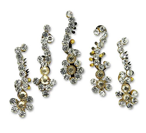 5pc Stick On Diamantes Gold Bindis Multipack/Crystal Bindi Stickers/Festival Face Gems/Bridal Bindis/Forehead Tikka Face Jewels/Bollywood Indian Gems D9