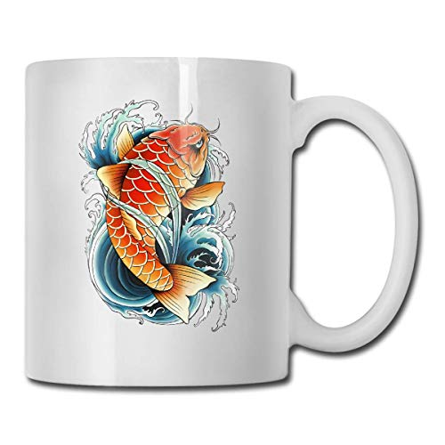 Taza de café con pintura de carpa asiática, taza de café de 12 onzas, taza de café divertida, regalo de cumpleaños para hombres y mujeres