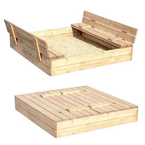 Sandkasten Sandbox Sandkiste mit Klappdeckel Sitzbänken 120x120x20 Kiefernholz mit Anti-Unkraut Bodenplane Deckel und Bank Buddelkasten Quadratisch Gartenspiel Natur Nicht lackiert