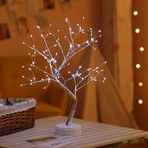 Metdek 1 PC USB Fire Tree Light alambre de cobre lámpara de mesa LED luz nocturna para el hogar, dormitorio, boda, bar, decoración de Navidad (B)