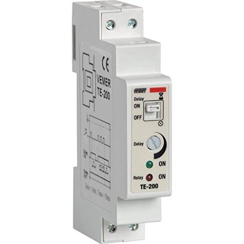 Vemer Vj79720000Interruptor te-200Temporizador Luces escaleras electrónico de Barra DIN, Gris Claro