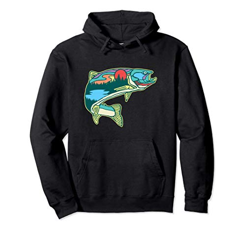 Nature Trout Illustration Vintage Fly Fishing Retro Graphic Pullover...