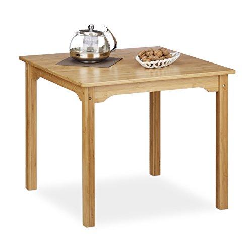 Relaxdays Table basse bambou RUSTICO table d'appoint enfant salon salle à manger carrée HxlxP: 50,5 x 60 x 60 cm, nature