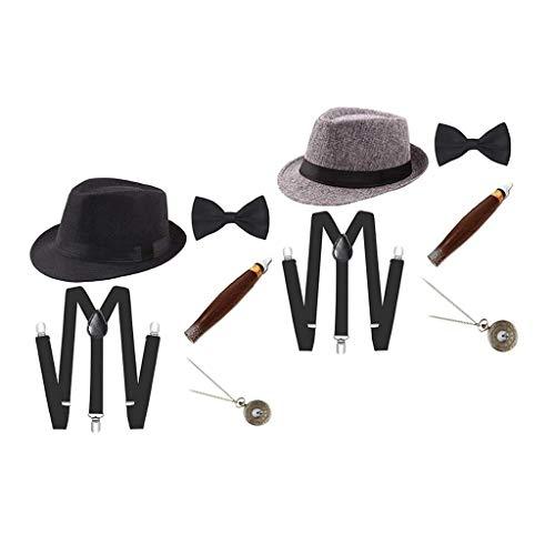 SM SunniMix 2 Juegos de Disfraces de Charleston Disfraz de Carnaval de Los años 20 Disfraz de Hombre con Sombrero Fedora - Negro + Gris