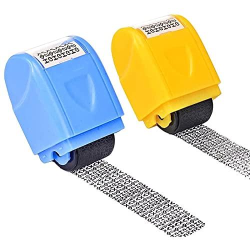 opamoo Identidad Seguridad Sello, 2 sellos Protección Privacidad Sello Código de Protección Antirrobo Rollo Sello Automático(amarillo y azul) Protege su información para prevenir el robo de identidad