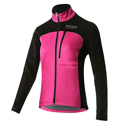 Mysenlan Fahrradjacke für Damen, Winddichte Wasserdichte Radjacke, Atmungsaktive Reflektierende Softshelljacke Fleece Warm Sportbekleidung für Radfahren, Laufen, Bergsteigen, Wandern