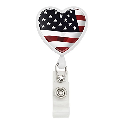 US American Flag Stars and Stripes Waving United States USA Heart Lanyard Retractable Reel Badge ID Card Holder - White