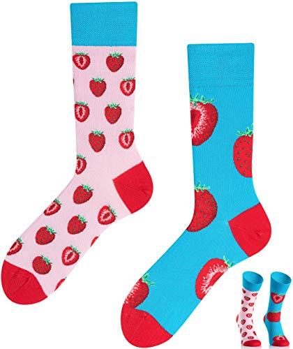 TODO COLOURS Casual Mix und Match Socken - Strawberies Paradise - mehrfarbige, verrückte, bunte Socken (39-42, Erdbeerparadies)