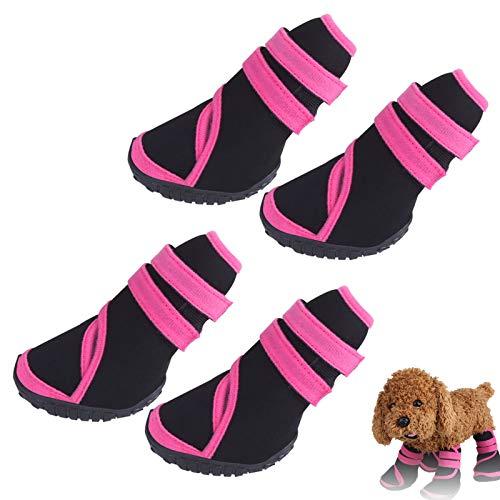Bottes pour Chiens, 4 Pièces Botte de Protection pour Chiens Chaussures d'hiver pour Chiots Imperméables Chaussures pour Chiens Chaudes avec Semelle Antidérapante Robuste, Rose (S)