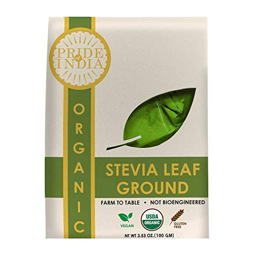 Pride Of India - Organic Stevia Leaf Ground - 3.53 oz (100 gm) Re-sealable pouch - Certified Pure & Natural Sweetener - Best for Cooking, Baking, Beverages etc - Offers Best Value for Money