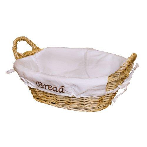 JVL 15-762 Oval Split Willow Lined Bread Basket with Loop Handles