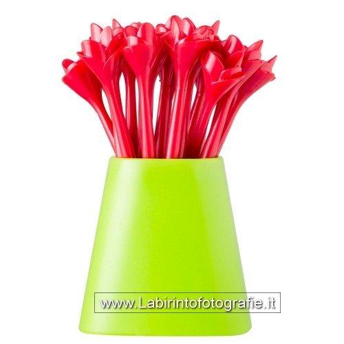 VIGAR Flower Power Set Zahnstocher Aperitif, ABS, Rot, 6x 6x 10cm