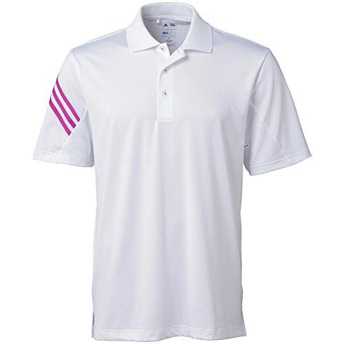 Adidas Puremotion Climacool Polo de golf à 3 bandes pour homme petit Blanc/magenta.