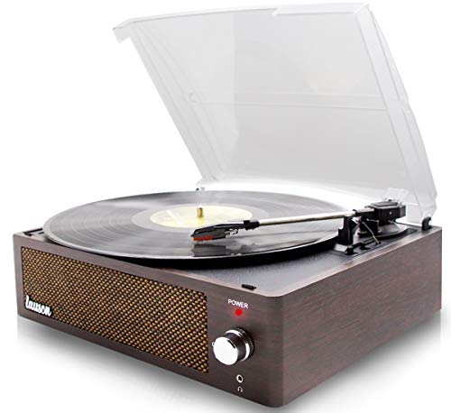 Record Player Turntable for Vinyl Records 3 Speed and USB Belt Driven Vinyl Record Player with Speakers Record Player Extra Stylus Vintage Phonograph (Wenge)