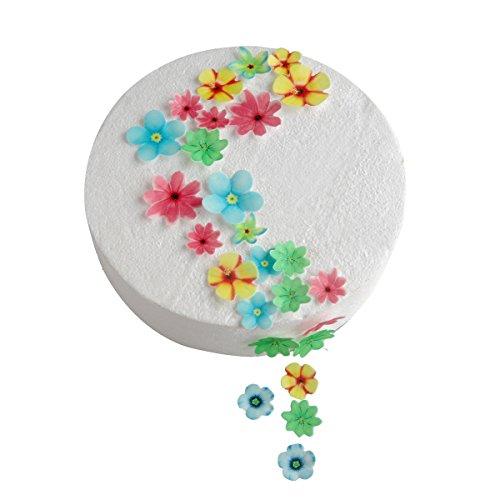 Juego de 48 flores comestibles para decoración de tartas de cumpleaños, bodas, pasteles, cupcakes, helados, varios tamaños