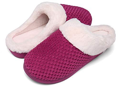 Mishansha Winter Hausschuhe Damen Memory Foam Pantoffeln Plüsch Warme Indoor Slippers Rot 42/43