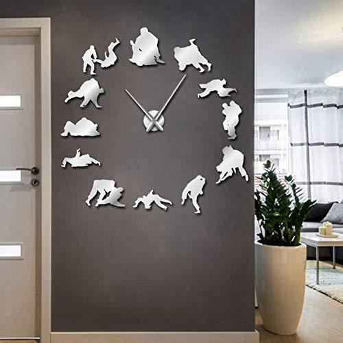 DIY Wandklok Schaken Hobby Schaken Liefhebber Frameless 3D Effect Wandklok Schaken Figuur Muurschildering Decoratieve Klok met Spiegel Effect 37inch Zilver