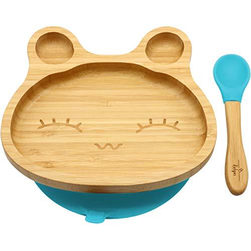 RAHYAS Bamboo Baby Bunny Suction Plate, Stay Put Suction Plates for Toddlers, Baby Plates with Cute Bunny, Natural Bamboo-Blue