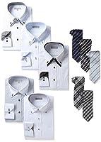 [ドレスコード101] ワイシャツ シーンで選べる8セット これだけで1週間バッチリ プレゼントにも最適 形態安定 Yシャツ5枚&ネクタイ5本 SH5TIE5ST1 メンズ N03 首回り45×裄丈88 (日本サイズ3L相当)
